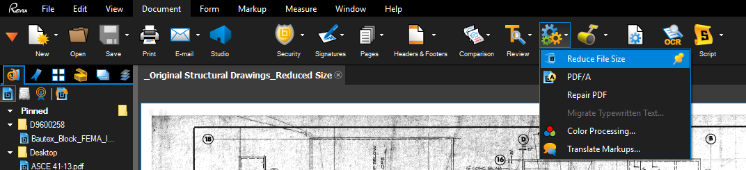 reduce pdf file size bluebeam